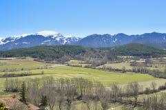 Katalończyków Pyrenees drzewa i góry kształtują teren, PuigcerdÃ, Cerdanya, Hiszpania Fotografia Royalty Free
