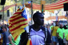 Katalońscy symbole przy Diada niezależności manifestacją Zdjęcie Royalty Free