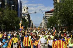 Kataloński niezależność wiec w Barcelona, Hiszpania Zdjęcie Stock