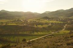 Kataloński zmierzch w Bellver De Cerdanya, Girona, Hiszpania Obraz Stock