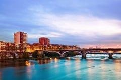 Katalończycy przerzucają most przy wschodem słońca Obrazy Royalty Free
