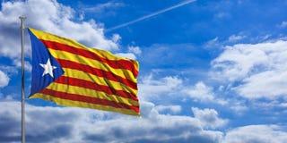 Katalonien-Flagge bewegt unter den blauen Himmel mit vielen weißen Wolken wellenartig Abbildung 3D stock abbildung