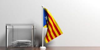 Katalonien-Flagge nahe bei einer Glaswahlurne auf Holzoberfläche Abbildung 3D Lizenzfreies Stockfoto