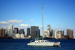 Katamaran und Miami-Skyline Stockbilder