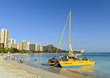 Katamaran in Waikiki Stockfotografie
