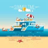 Katamaransegelbåt med turister Simning avkoppling, semester på havet stock illustrationer