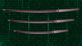 Katana on a green background of binary code. Vector Stock Photography