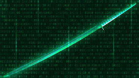 Katana on a green background of binary code. Vector. Katana on a green background of binary code royalty free illustration