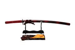 Katana Japanese svärd på svart ställning Royaltyfria Foton
