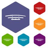 Katana, Japanese sword icons set hexagon Stock Photo