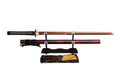 Katana Japanese-zwaard op zwarte tribune Royalty-vrije Stock Afbeelding