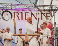 Katana sword fighters at Orient Festival in Milan, Italy Royalty Free Stock Images