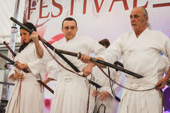 Katana sword fighters at Orient Festival in Milan, Italy Royalty Free Stock Photography
