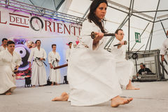 Katana sword fighters at Orient Festival in Milan, Italy Stock Photos