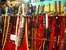 Katana Swords at the Festival of the Orient in Rome Italy. The Festival of the Orient was held at the Exhibition Centre near Rome Airport at Fumincino on the Royalty Free Stock Photography