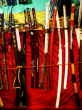 Katana Swords at the Festival of the Orient in Rome Italy. The Festival of the Orient was held at the Exhibition Centre near Rome Airport at Fumincino on the Stock Images