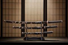 Katana, wakizashi en tanto  Stock Afbeeldingen
