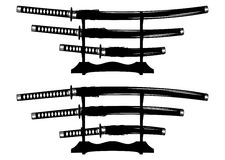 Katana, wakizashi and tanto Stock Photography