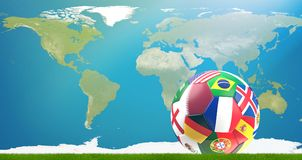 Katar-Flaggenfußball 3d-illustration mit Weltkarte elemente Stockfotografie