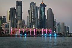 Katar: Reklamy centrum Doha Zdjęcia Royalty Free