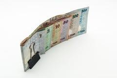 Katar-Währungen hundert Riyal, fünfhundert Riyal, hundert Riyal, fünfzig Riyal, zehn Riyal, fünf Riyal und ein Riyal Lizenzfreies Stockbild