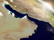 Katar z flaga w powstającym słońcu Fotografia Stock