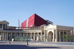 Katara cultural village mall project almost completed, a giant structure in gift shape is overlooking the building. stock image