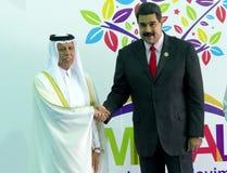 Katars stellvertretender Premierminister Ahmad Abdullah Al Mahmoud und venezolanischer Präsident Nicolas Maduro Lizenzfreie Stockbilder
