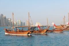Katarscy dhows na przedstawieniu obraz royalty free