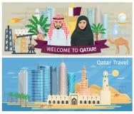 Katarski sztandaru set ilustracji