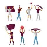 Katarskich fan piłki nożnej Rozochocona piłka nożna ilustracja wektor