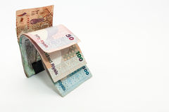 Katarskie waluty Sto Riyal, pięćset riyal, sto riyal, pięćdziesiąt riyal, dziesięć riyal, pięć riyal i jeden riyal, Fotografia Stock