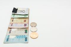 Katarskie waluty Sto Riyal, pięćset riyal, sto riyal, pięćdziesiąt riyal, dziesięć riyal, pięć riyal i jeden riyal, Obrazy Stock