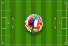 Katarskiego balowego projekta boisko do piłki nożnej odgórny widok 3D-Illustration Obraz Royalty Free