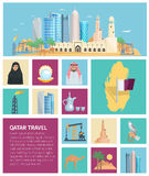 Katarskiej kultury ikony Płaski set ilustracja wektor