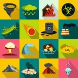 Katastrof naturalnych ikony ustawiać, mieszkanie styl Obraz Stock