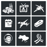 Katastrof samolotu Wektorowe ikony Ustawiać Zdjęcia Royalty Free