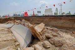 Katastrofa autostrady droga po wody powodziowej w Thailand Obraz Royalty Free