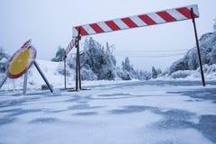 Katastrofa naturalna: droga zamykał dla lodu z spadać drzewami w tle należnym ciężki sleet Fotografia Stock