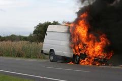 katastrofa płonący samochód dostawczy Obraz Royalty Free