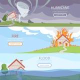 Katastrofa pogodowi sztandary Tsunami wulkanu wiatru burzy deszczu domu szkoda od rozjaśniać wektorów obrazki z miejscem dla ilustracja wektor