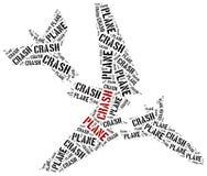 Katastrofa samolotu lub powietrze trzask Słowo obłoczna ilustracja royalty ilustracja