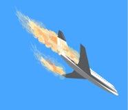Katastrofa samolotu, Płaski wypadek, samolotu bombardowanie, katastrofy samolotu, te Zdjęcie Royalty Free