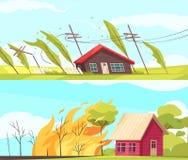 Katastrofhorisontalbaneruppsättning stock illustrationer