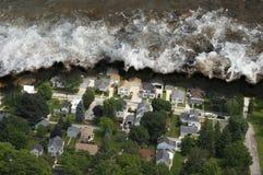 katastrofy gigantyczna naturalna pływowa tsunami fala Obraz Royalty Free