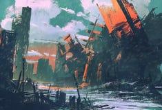Katastrofy miasto, apokaliptyczna sceneria ilustracja wektor