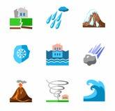 Katastrofy naturalne, barwione ikony Zdjęcie Royalty Free