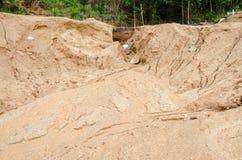 Katastrofy naturalne, osunięcie się ziemi w podczas pory deszczowa Obraz Stock