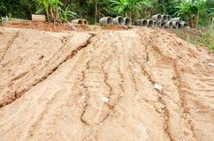 Katastrofy naturalne, osunięcie się ziemi w podczas pory deszczowa Obrazy Stock