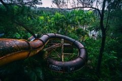 Katastrophentourismusanziehungskraft Ho Thuy Tien verließ waterpark, nah an Farb-Stadt, Mittel-Vietnam, Südostasien stockfoto